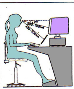 Recommandations: dos bien calé, pieds biens reposés à plat, regard plongeant, le centre de l'écran étant légèrement plus bas que le niveau des yeux.